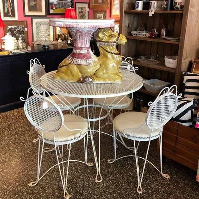 White Cafe Table $110, Chairs $45 each.