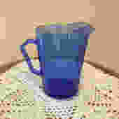 Vintage Adorable cobalt blue honey comb pattern milk pitcher Hazel Atlas by JoAnntiques