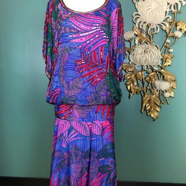 1980s cocktail dress, beaded silk dress, Judith ann, flapper style, vintage 80s dress, tropical print, blouson drop waist, plus size, xxl by BlackLabelVintageWA