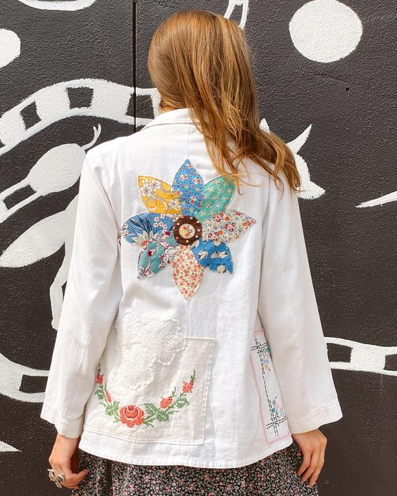 FO25 White Antique Applique Workwear Jacket
