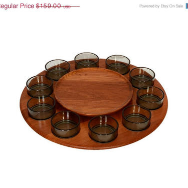 Sale Digsmed Teak Lazy Susan Serving Tray with 10 glass bowls Denmark 1970 by HearthsideHome