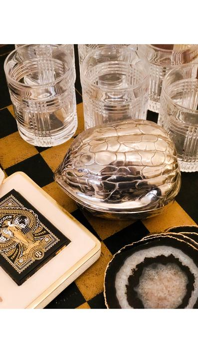 Lidded Box in the form of a Nut, silver plated