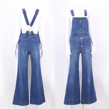 70s denim bell bottom overalls 28 / vintage 1970s JEAN MACHINE  jeans jumpsuit flared bottoms tight fit size 29 by ritualvintage