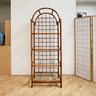 Rattan and Glass Etagere Bamboo Arched Vintage 70s by 330Modern