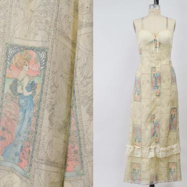 Vintage 1970s Romantic Novelty Print Maxi Dress, 70s Art Deco Print Dress, Vintage Romanticism Prairie, Bohemian Hippie Folk, Size X-Small by MobyDickVintage