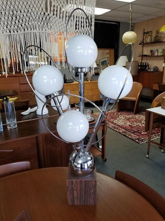Mid-Century Modern chrome and orb lamp with rosewood base