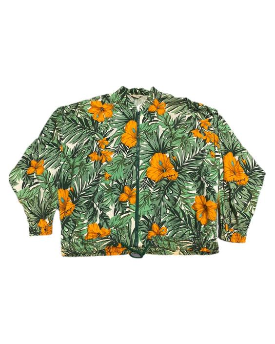 (M) 80s Andre Luciano Hawaiian Zip Up Sweater 091521 LM