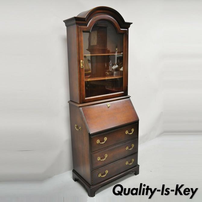 Jasper Cabinet Cherry Wood Bonnet Top Narrow Secretary Desk Bookcase Cabinet