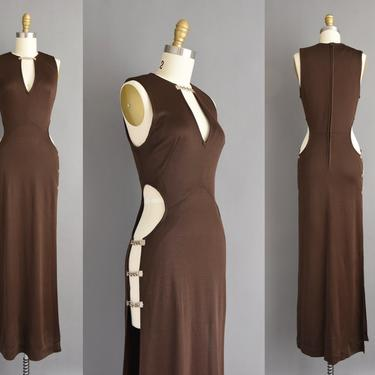 70s vintage dress - Rare chocolate brown brass chain cut out full length party dress - vintage 1970s dress by simplicityisbliss