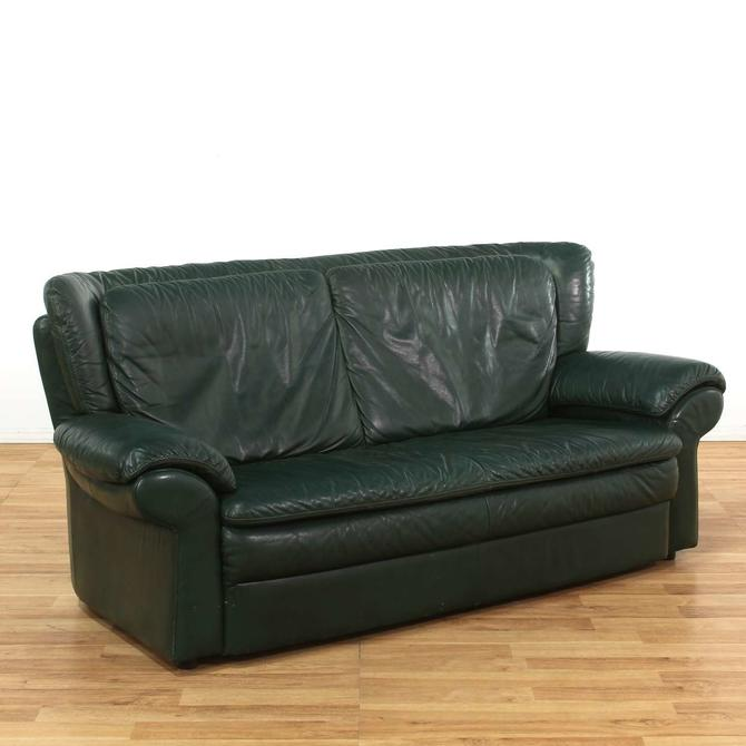 Oversized Dark Green Leather Sofa from Loveseat (Los Angeles ...