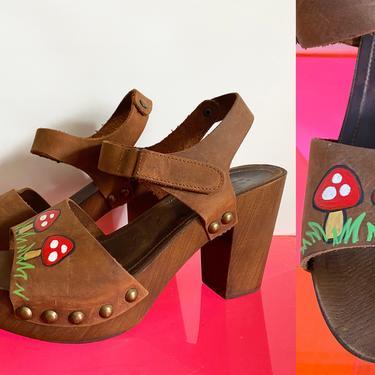 "Vintage ""Magic Mushroom"" Platform Hippie Shoes • Genuine Leather + Wooden Sole Chunky Block Heel Sandals • Hand Painted Boho • EU 40 US 8.5 by elliemayhems"
