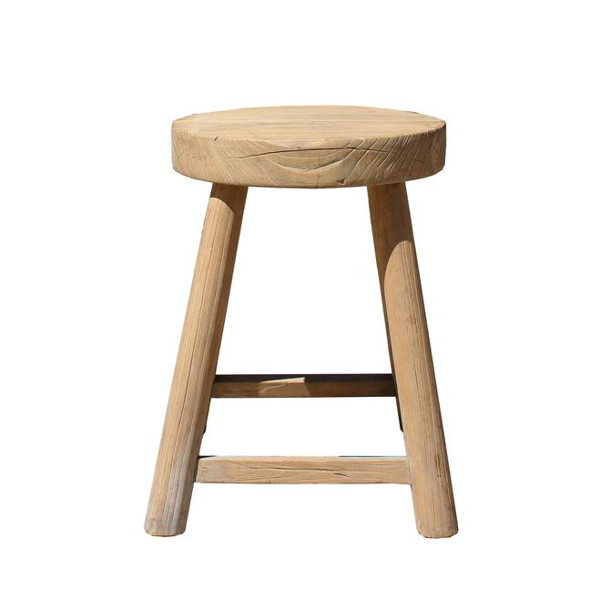 Rustic Raw Wood Rough Finish Round Top Square Legs Stool Table cs3849S
