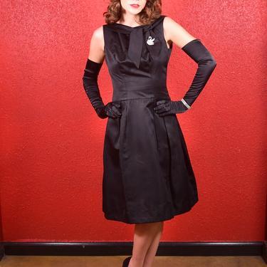 1960s LBD Black Dress Silk Faille Small Bonwit Teller by THEGIRLCANTHELPITUSA