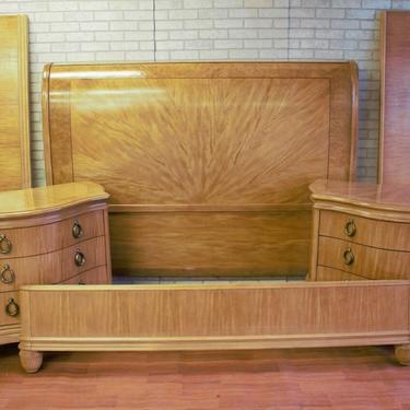Vintage Bernhard 2 Nightstands and King Sleigh Bed - 3 Piece Bedroom Set