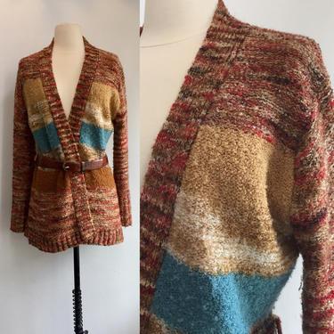 70's Vintage Boho SPACE DYED Cardigan Sweater / Kimono Style + Nubby Texture / LeRoy / M by CharmVintageBoutique