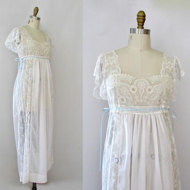 LACE AFFAIR Bert Yelin Vintage 70s White Chantilly Lace Nightgown w/ Ribbons   1970s Lingerie Pajamas Gown, 80s 1980s Sleepwear   Size Small by lovestreetsf