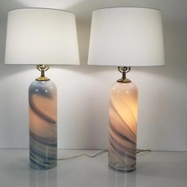 1980's Postmodern Glasslight Art Hand Blown Swirl Design Table Lamps - a Pair by MIAMIVINTAGEDECOR