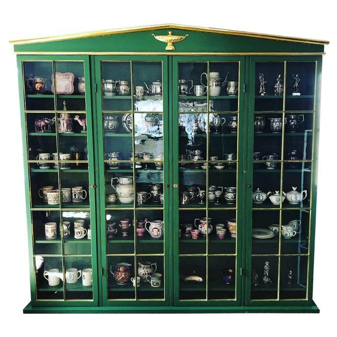 Neoclassical Style Green Painted and Parcel Gilt Breakfront Bookcase