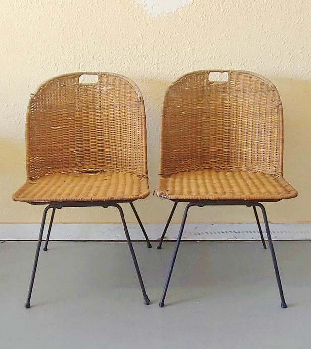 Vintage Modern Salterini Style Wicker and Wrought Iron Side Chairs - Set of 2 by ModandOzzie
