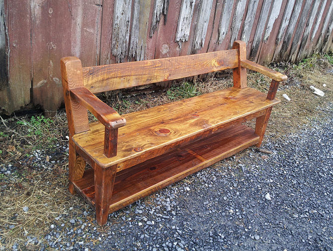 Swell Custom Reclaimed Wood Relaxed Back Farm Bench With Armrests By Barnwoodfurniture Camellatalisay Diy Chair Ideas Camellatalisaycom
