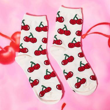 Cherry Smiley Face Socks