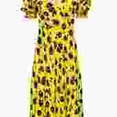 Diane von Furstenberg - Yellow, Black & Lavender Floral Print Midi Dress Sz 8