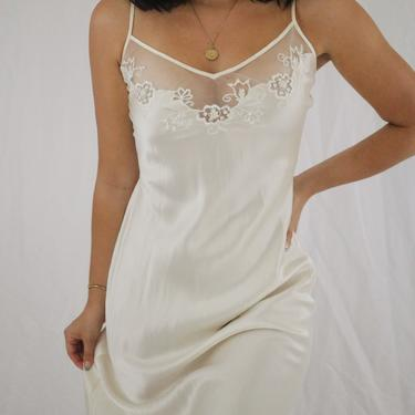 Vintage Cream Charmeuse Silk Floor Length Slip Dress - Small - Victoria's Secret Silk Gown by LadyLVintageCo