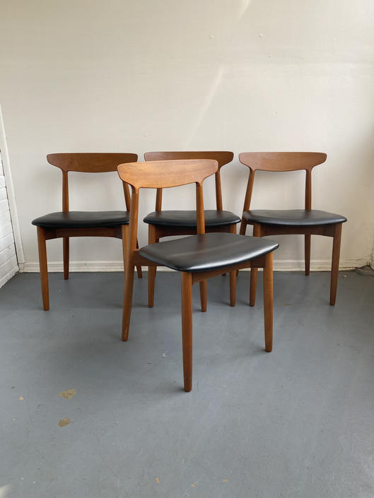 Set of 4 Teak and Black Leather Dining Chairs by Harry Ostergaard for Randers Møbelfabrik by TheModernistUS