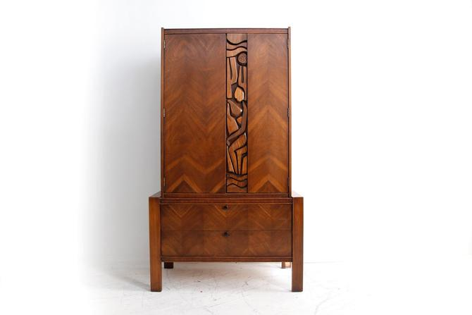 Vintage MCM brutalist tall boy dresser with 6 drawers / Armoire by United Furniture | Free delivery in NYC and Hudson areas by OmasaProjects