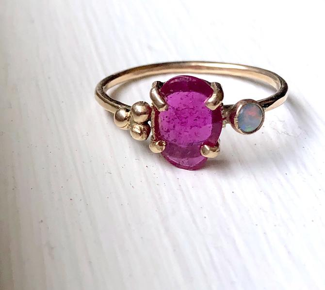 14k Yellow Gold Rose Cut Ruby and Opal Ring Handmade and one of a kind anniversary present promise ring alternative engagement ring by RachelPfefferDesigns