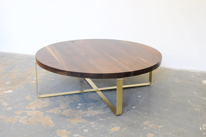Walnut Coffee Table, Brass Base, Round Top, Black Walnut, Free Shipping by dylangrey
