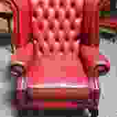 Item #U137 Vintage Red Leather Chesterfield Wing Back Arm Chair c.1970