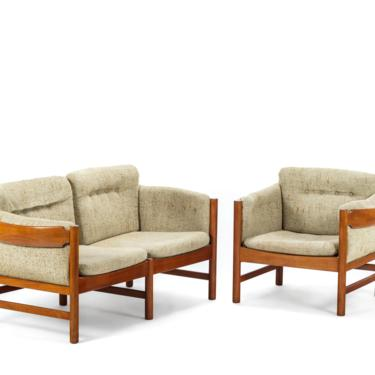 Mid Century Danish Modern Sofa and Lounge Chair Set in Solid Old Age Teak by Jydsk Mobelvaerk by ABTModern