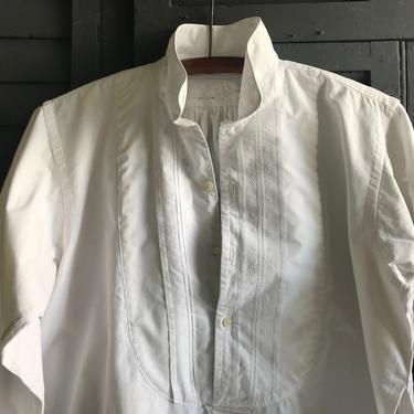 French Mens Dress Shirt, Embroidery Work, White, Edwardian Period Clothing, Damages by JansVintageStuff