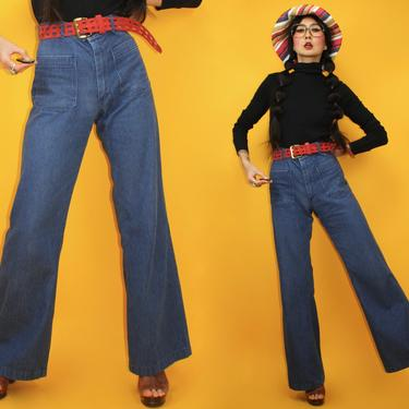 """Vintage 70s US ARMY Sailor Denim Bell Bottoms Flared Jeans / waist 30"""" / high waisted dark blue wide leg pants / Hippie Boho Western by TheeAppleBoutique"""