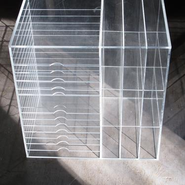 Clear Lucite Organizer Plexiglass Storage Cubby Plexi Filing Unit Clear Plastic Shelf Craft Organizer Lucite Desk Organizer by akaATA