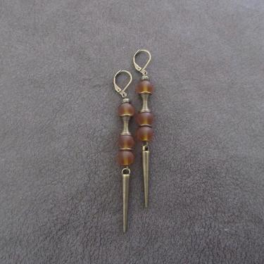 Orange sea glass earrings, minimalist earrings, tribal ethnic earrings, bold earrings, long geometric earrings, modern statement earrings by Afrocasian