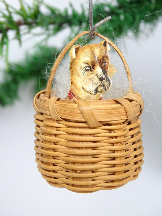 Antique Puppy in a  Basket Christmas Ornament, Vintage Dog Scrap in Woven Basket by exploremag