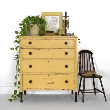 SOLD SOLD Antique Chest of Drawers Antique Yellow Dresser Chippy Milk Painted Dresser Four Drawer Shabby Chic Bureau with Stained Legs by GreenSpruceDesigns