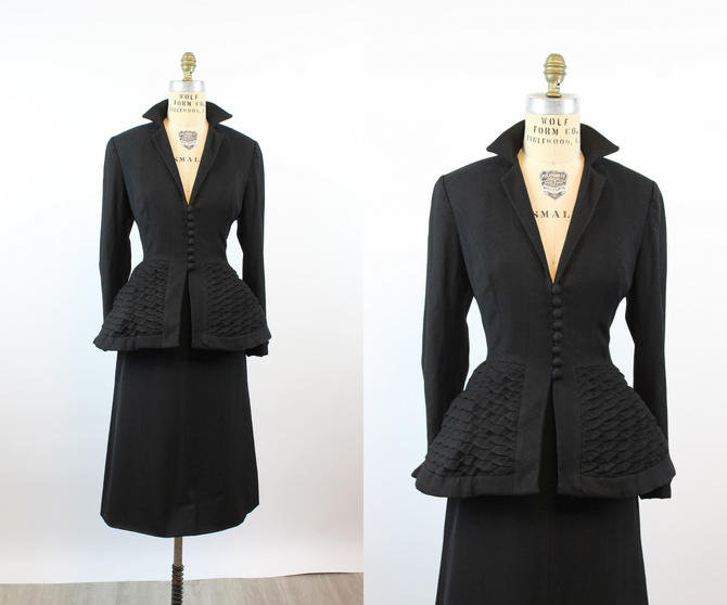 1950s unlabeled Lilli Ann wool QUILTED peplum jacket medium | new fall by CrushVintage