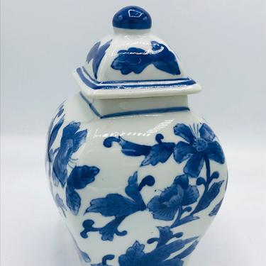 """Vintage Blue & White Porcelain Ginger  Jar with hand painted floral design- 8"""" tall by JoAnntiques"""