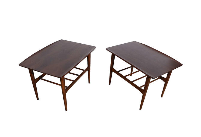 Lane Walnut Side Tables Danish Modern by HearthsideHome