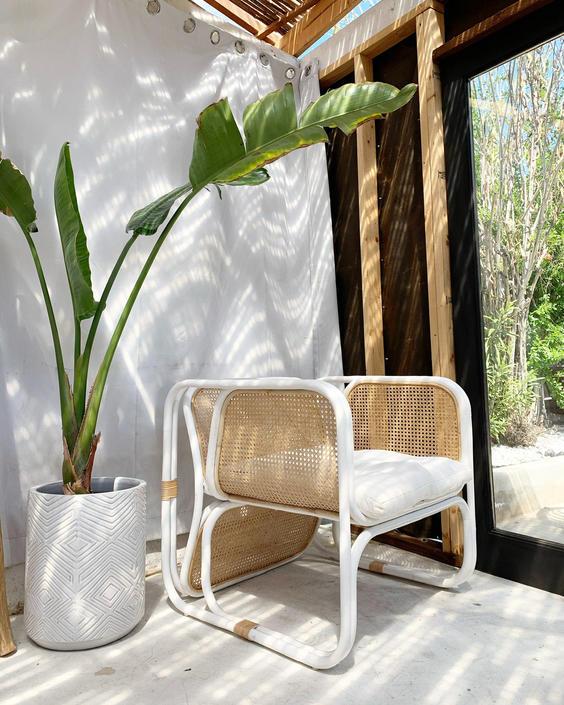 Cypress Rattan Lounger Chair - Natural/White by TheWickedBoheme