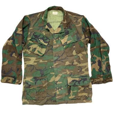 Vintage 1970s Vietnam War ERDL Rip-Stop Camouflage Poplin Shirt / Jacket ~ size S Regular ~ USMC Marine Corps ~ Jungle Coat  ~ by SparrowsAndWolves