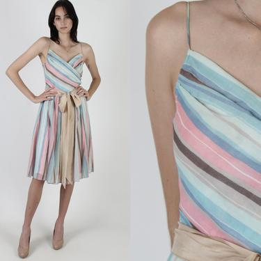 Pastel Striped Dress / Casual Vertical Horizontal Stripe Dress / Womens 70s Garden Deep V Wrap Dress / 1970s Waist Tie Mini Dress by americanarchive