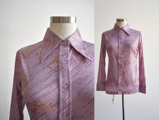 1970s Purple Diamond Print Disco Shirt by milkandice