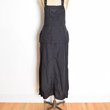 vintage 90s dress black parachute overalls fanny pack raver goth maxi dress M by huncamuncavintage