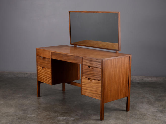 Mid Century French Vanity Dressing Table with Mirror Desk by MadsenModern