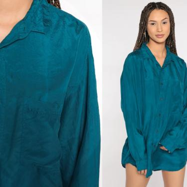 Men's Silk Shirt 90s xl Blue Button Up Shirt Long Sleeve Blouse 80s Oversized Vintage Collared Button Down Streetwear Large L by ShopExile