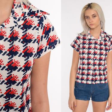 Geometric Shirt 70s Disco Top Bohemian Shirt Op Art 1970s Hippie Brown Psychedelic Short Sleeve Button Up Boho Red White Blue Small S by ShopExile
